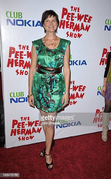 Actress Kerri Kenney arrives to the opening night of The Pee Wee Herman Show at Club Nokia on January 20 2010 in Los Angeles California