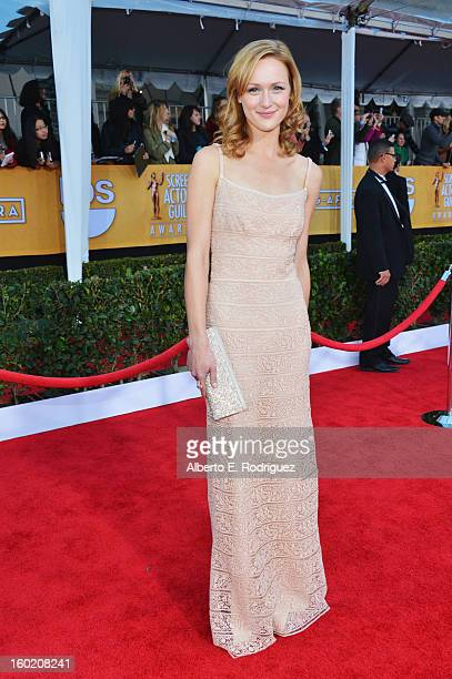 Actress Kerry Bishe arrives at the 19th Annual Screen Actors Guild Awards held at The Shrine Auditorium on January 27, 2013 in Los Angeles,...