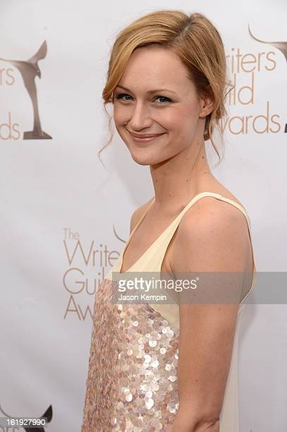 Actress Kerry Bishe arrives at the 2013 WGAw Writers Guild Awards at JW Marriott Los Angeles at LA LIVE on February 17 2013 in Los Angeles California