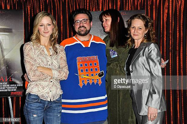 Actress Kerry Bishe writer/director Kevin Smith wife Jennifer Schwalbach Smith and actress Melissa Leo attend The Red State tour launch at Radio City...
