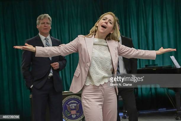 Actress Kerry Butler performs during Clinton The Musical Off Broadway Sneak Preview at Ripley Greer Studios on March 4 2015 in New York City