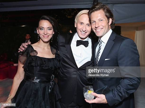 Actress Kerry Norton Designer David Meister and actor Jamie Bamber attend Grey Goose at 21st Annual Elton John AIDS Foundation Academy Awards Viewing...