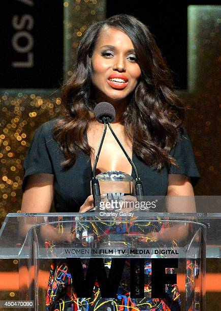 Actress Kerry Washington accepts the Lucy Award for Excellence in Television onstage at Women In Film 2014 Crystal Lucy Awards presented by MaxMara...
