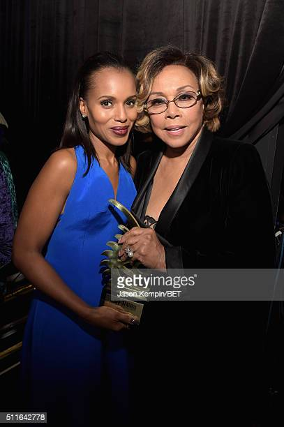Actress Kerry Washington and ABFF Hollywood Legacy Award recipient Diahann Carroll pose backstage at the 2016 ABFF Awards A Celebration Of Hollywood...