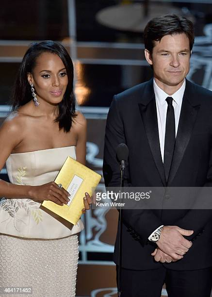 Actress Kerry Washington and actor Jason Bateman present onstage during the 87th Annual Academy Awards at Dolby Theatre on February 22 2015 in...