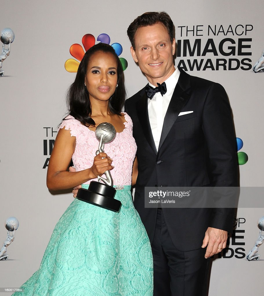 Actress Kerry Washington and actor Tony Goldwyn pose in the press room at the 44th NAACP Image Awards at The Shrine Auditorium on February 1, 2013 in Los Angeles, California.