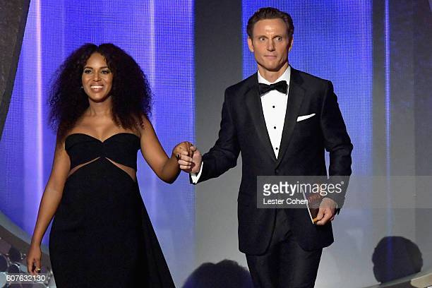 Actress Kerry Washington and actor Tony Goldwyn speak onstage during the 68th Annual Primetime Emmy Awards at Microsoft Theater on September 18 2016...