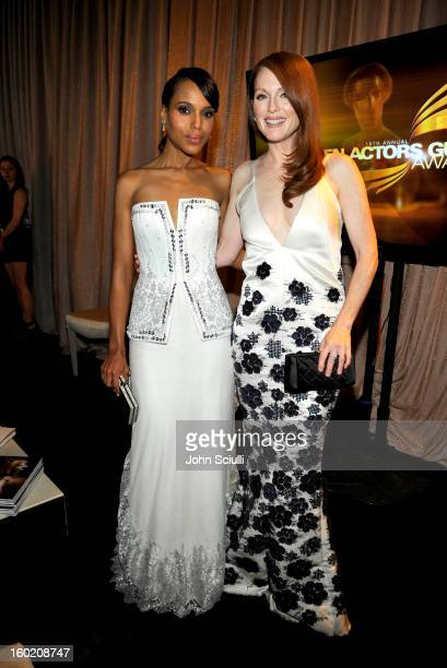 Actress Kerry Washington and Actress Julianne Moore attend the 19th Annual Screen Actors Guild Awards at The Shrine Auditorium on January 27, 2013 in...