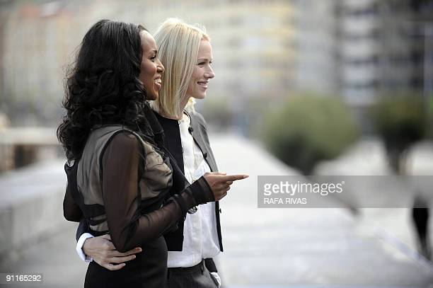 US actress Kerry Washington and British actress Naomi Watts pose on September 26 2009 after the screening of Rodrigo Garcia's film 'Mother and Child'...