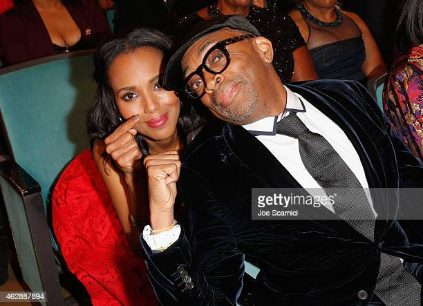 Actress Kerry Washington and director Spike Lee attend the 46th NAACP Image Awards presented by TV One at Pasadena Civic Auditorium on February 6...