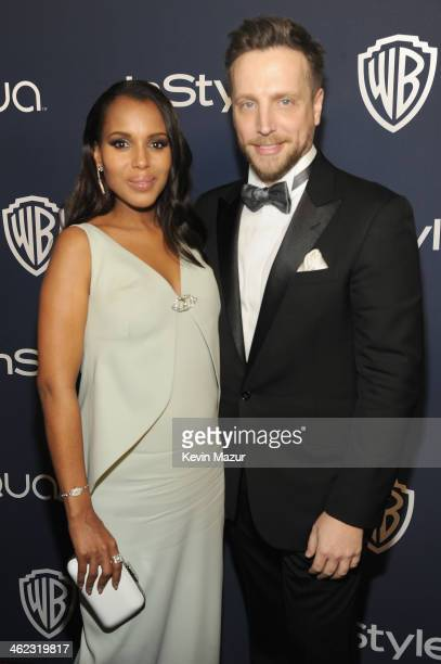 Actress Kerry Washington and Editor of InStyle Ariel Foxman attend the 2014 InStyle And Warner Bros. 71st Annual Golden Globe Awards Post-Party at...
