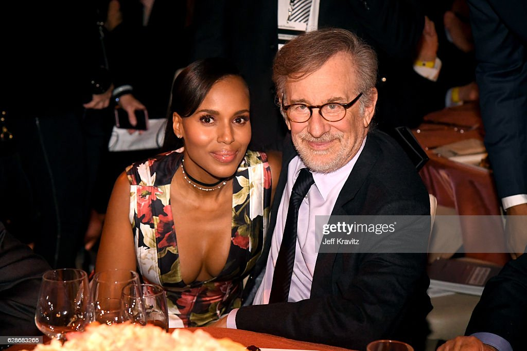 Actress Kerry Washington (L) and founder, USC Shoah Foundation Steven Spielberg attend Ambassadors for Humanity Gala Benefiting USC Shoah Foundation at The Ray Dolby Ballroom at Hollywood & Highland Center on December 8, 2016 in Hollywood, California.
