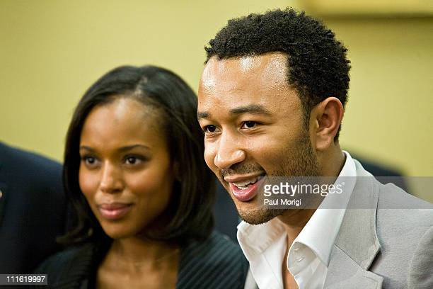 Actress Kerry Washington and musician John Legend at a House Appropriations hearing on Funding for the Arts at the Rayburn House Office Building on...