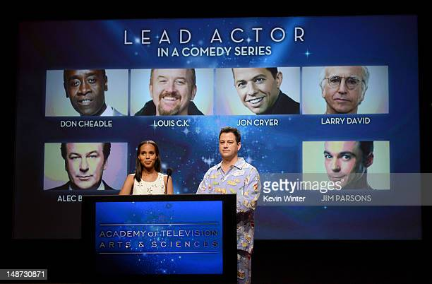 Actress Kerry Washington and TV host Jimmy Kimmel announce the nominees for the Outstanding Lead Actor in a Comedy Series Award during the 64th...