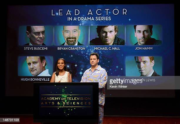 Actress Kerry Washington and TV host Jimmy Kimmel announce the nominees for the Outstanding Lead Actor in a Drama Series Award during the 64th...