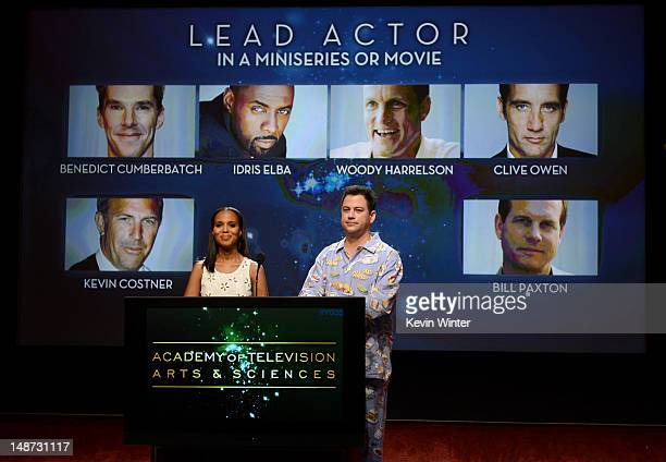 Actress Kerry Washington and TV host Jimmy Kimmel announce the nominees for the Outstanding Lead Actor in a Miniseries or Movie Award during the 64th...