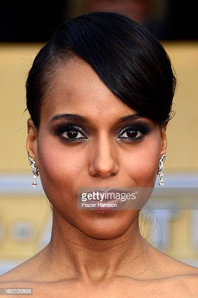 Actress Kerry Washington arrives at the 19th Annual Screen Actors Guild Awards held at The Shrine Auditorium on January 27 2013 in Los Angeles...