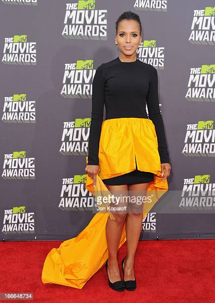 Actress Kerry Washington arrives at the 2013 MTV Movie Awards at Sony Pictures Studios on April 14 2013 in Culver City California