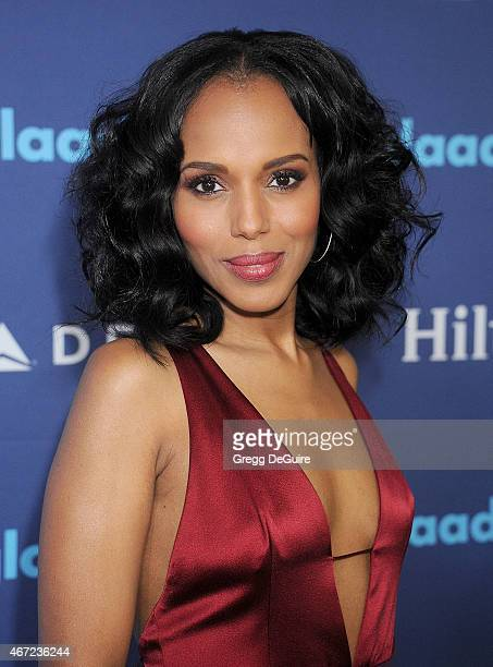 Actress Kerry Washington arrives at the 26th Annual GLAAD Media Awards at The Beverly Hilton Hotel on March 21 2015 in Beverly Hills California