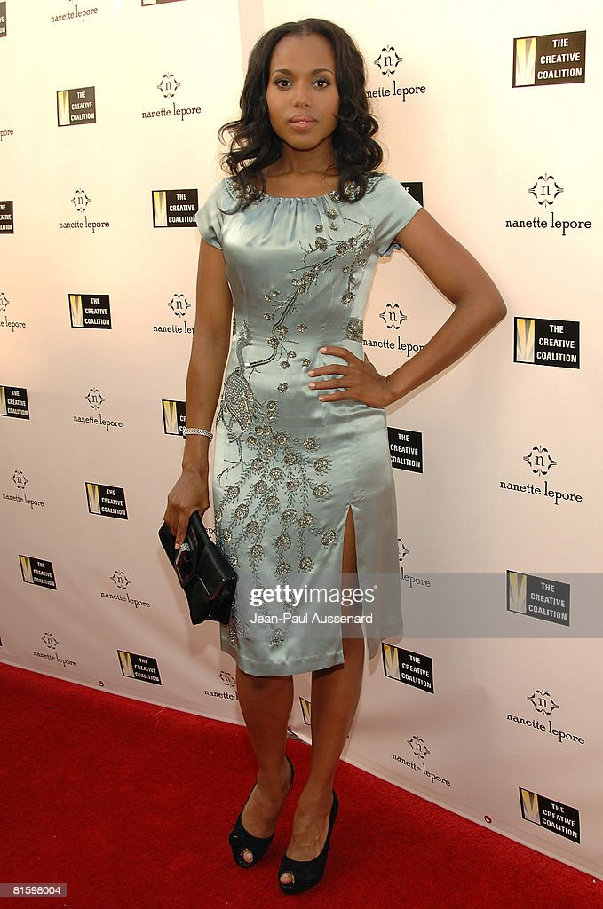 Actress Kerry Washington arrives at the 'Fashion Votes' event held at the Nanette Lepore boutique on June 16th, 2008 in Los Angeles, California.