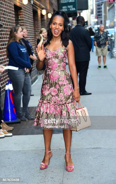 Actress Kerry Washington arrives at 'The Late Show with Stephen Colbert' on October 4 2017 in New York City