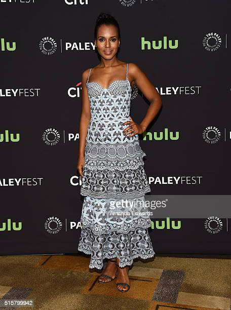 Actress Kerry Washington arrives at The Paley Center For Media's 33rd Annual PaleyFest Los Angeles presentation of 'Scandal' at the Dolby Theatre on...