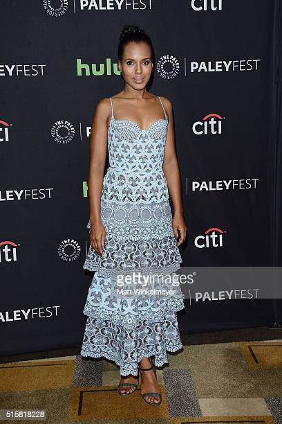 Actress Kerry Washington arrives at The Paley Center For Media's 33rd Annual PALEYFEST Los Angeles ÒScandalÓ at Dolby Theatre on March 15 2016 in...