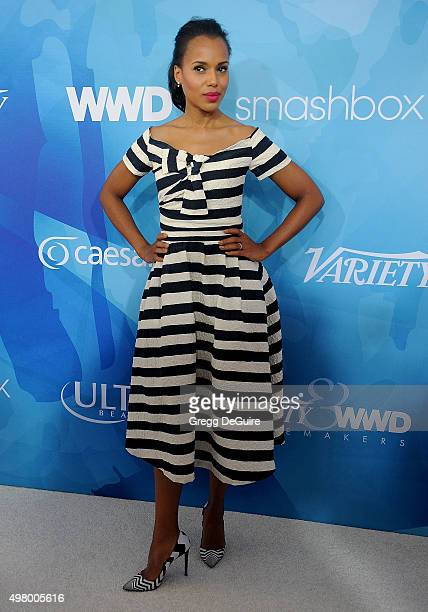 Actress Kerry Washington arrives at the WWD And Variety Inaugural Stylemakers' Event at Smashbox Studios on November 19 2015 in Culver City California