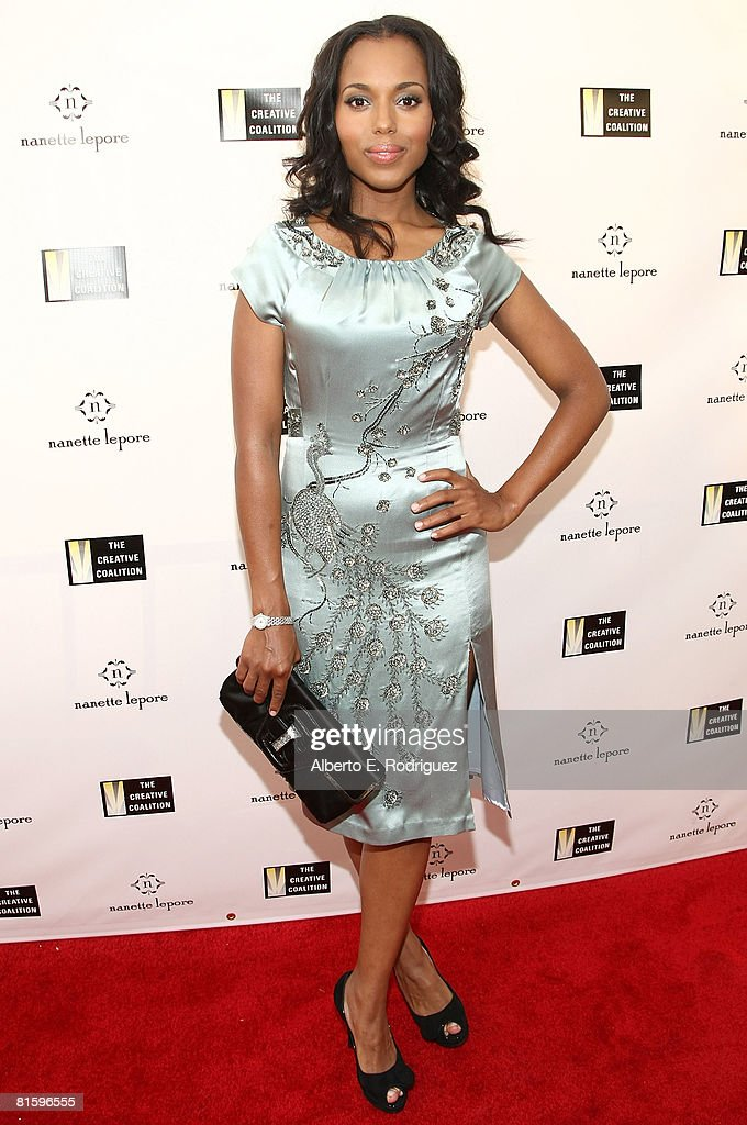 Actress Kerry Washington attends Nanette Lepore and the Creative Coalition's Fashion Votes event at the new Nanette Lepore boutique on Melrose Avenue on June 16, 2008 in Los Angeles, California.