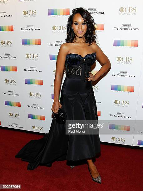 Actress Kerry Washington attends the 38th Annual Kennedy Center Honors Gala at John F Kennedy Center for the Performing Arts on December 6 2015 in...