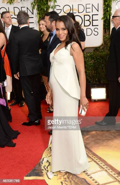 Actress Kerry Washington attends the 71st Annual Golden Globe Awards held at The Beverly Hilton Hotel on January 12 2014 in Beverly Hills California
