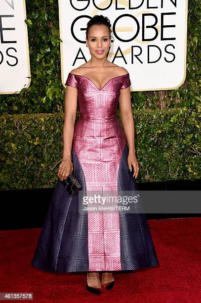 Actress Kerry Washington attends the 72nd Annual Golden Globe Awards at The Beverly Hilton Hotel on January 11 2015 in Beverly Hills California