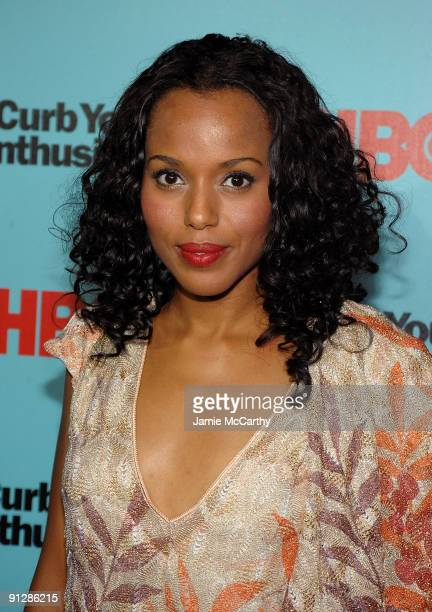 Actress Kerry Washington attends the Curb Your Enthusiasm Season 7 New York screening at the Time Warner Screening Room on September 30 2009 in New...