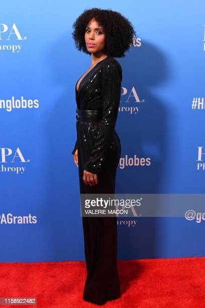 US actress Kerry Washington attends the Hollywood Foreign Press Association Annual Grants Banquet at The Beverly Wilshire in Beverly Hills on July 31...