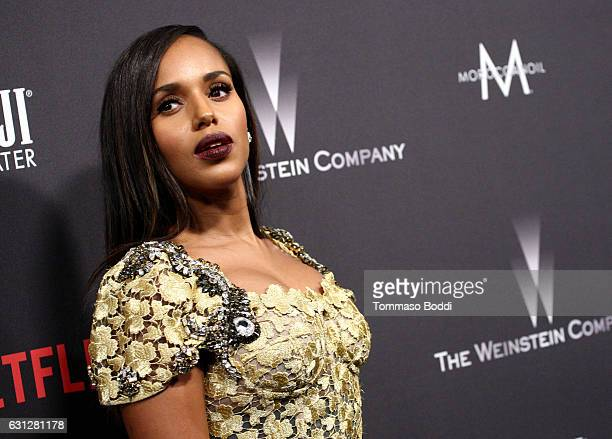 Actress Kerry Washington attends The Weinstein Company and Netflix Golden Globe Party presented with FIJI Water Grey Goose Vodka Lindt Chocolate and...