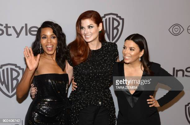 Actress Kerry Washington Debra Messing and Eva Longoria attend the 19th Annual InStyle And Warner Bros Pictures Golden Globe AfterParty on January 7...
