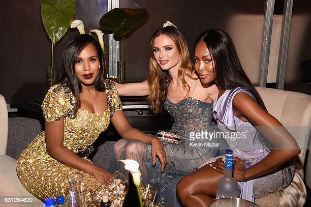 Actress Kerry Washington designer Georgina Chapman and model Naomi Campbell attend The Weinstein Company and Netflix Golden Globe Party presented...