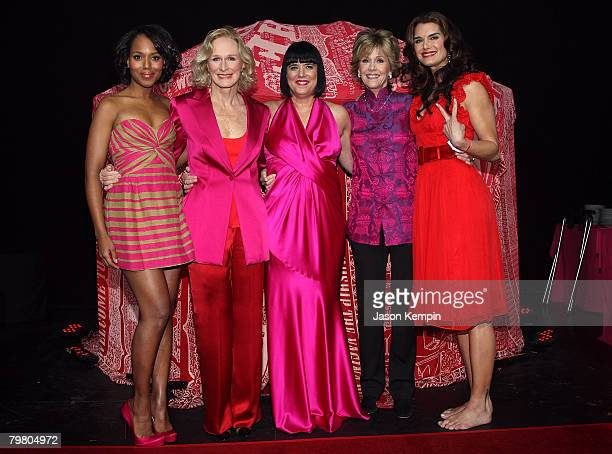 Actress Kerry Washington, Glenn Close, writer Eve Ensler, actors Jane Fonda and Brooke Shields attend V-Day's V to the Tenth: NYC - Kickoff to New...