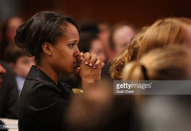 Actress Kerry Washington listens as Democratic presidential candidate Sen Barack Obama speaks to members of the Democratic Party of Wisconsin at...