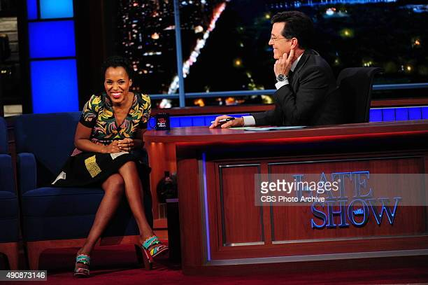 Actress Kerry Washington on The Late Show with Stephen Colbert Friday Sept 25 2015 on the CBS Television Network