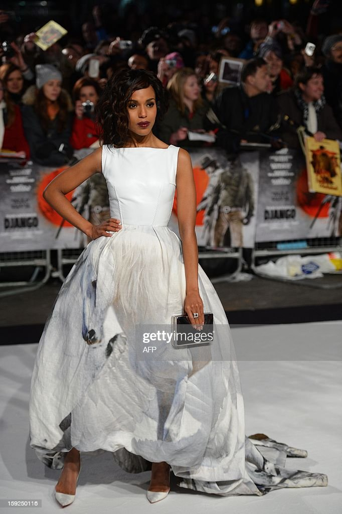 US actress Kerry Washington poses for photographs as she arrives on the red carpet for the UK premiere of the film Django Unchained in central London on January 10, 2013. AFP PHOTO/Leon NEAL