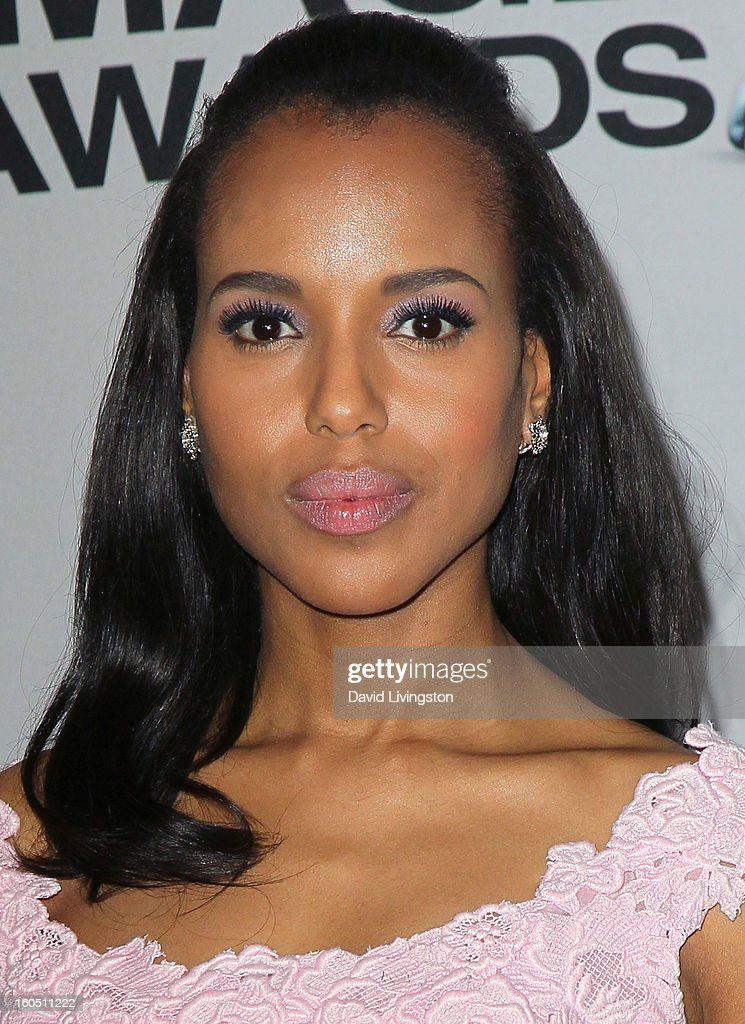 Actress Kerry Washington poses in the press room at the 44th NAACP Image Awards at the Shrine Auditorium on February 1, 2013 in Los Angeles, California.