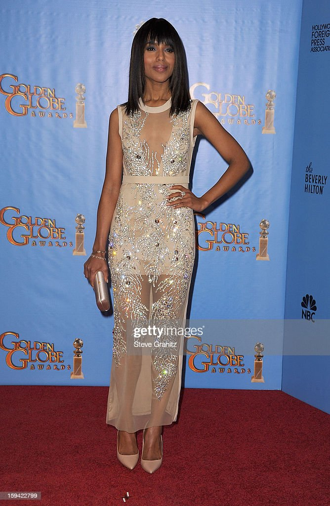 Actress Kerry Washington poses in the press room at the 70th Annual Golden Globe Awards held at The Beverly Hilton Hotel on January 13, 2013 in Beverly Hills, California.