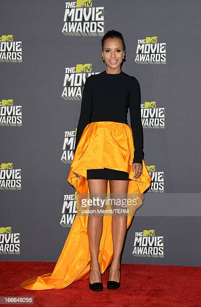 Actress Kerry Washington poses in the press room during the 2013 MTV Movie Awards at Sony Pictures Studios on April 14 2013 in Culver City California