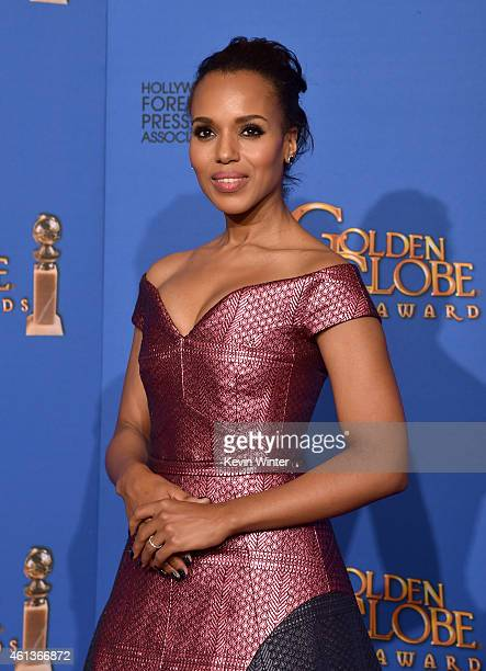 Actress Kerry Washington poses in the press room during the 72nd Annual Golden Globe Awards at The Beverly Hilton Hotel on January 11 2015 in Beverly...