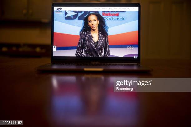 Actress Kerry Washington speaks during the virtual Democratic National Convention seen on a laptop computer in Tiskilwa, Illinois, U.S., on...