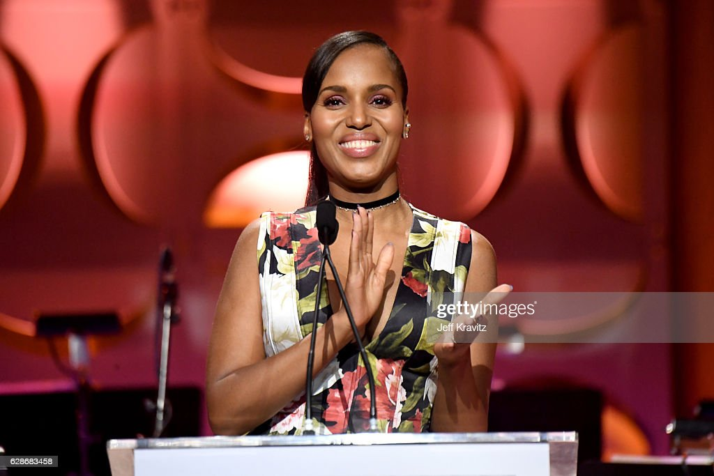 Actress Kerry Washington speaks onstage at the Ambassadors for Humanity Gala Benefiting USC Shoah Foundation at The Ray Dolby Ballroom at Hollywood & Highland Center on December 8, 2016 in Hollywood, California.