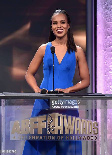 Actress Kerry Washington speaks onstage during the 2016 ABFF Awards A Celebration Of Hollywood at The Beverly Hilton Hotel on February 21 2016 in...