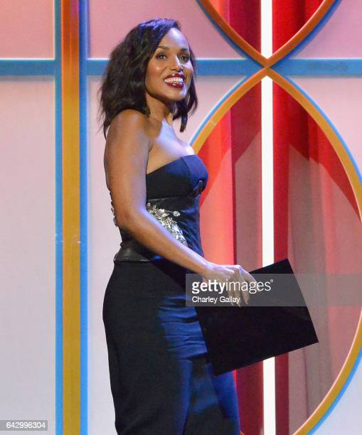 Actress Kerry Washington speaks onstage during the 2017 Writers Guild Awards LA Ceremony at The Beverly Hilton Hotel on February 19 2017 in Beverly...