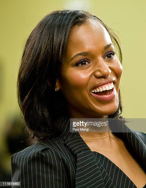 Actress Kerry Washington testifies at a House Appropriations hearing on 'Funding for the Arts' at the Rayburn House Office Building on April 1 2008...